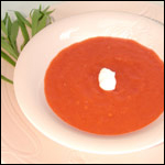 Digital Photography of Chilled  Tomato and Red Pepper Soup